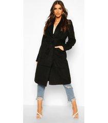 brushed wool look robe coat, black