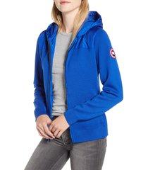 women's canada goose windbridge hooded sweater jacket, size medium - blue