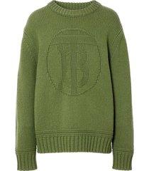 logo emblem knit sweater sage green