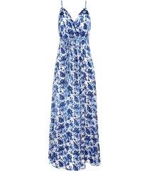 alice+olivia samantha embroidered maxi dress - blue