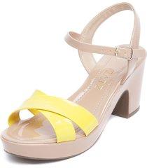 sandalia amarillo/rosa zatz