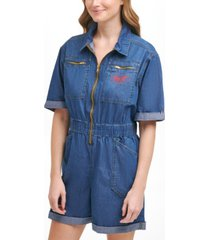 tommy jeans cotton zip-up denim romper