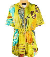 dsquared2 floral print playsuit - yellow