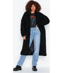 glamorous black fur coat faux fur