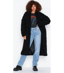 glamorous black fur coat faux fur
