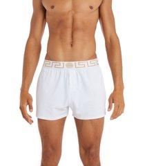 men's versace greca border boxers, size 5 - white