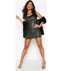 all over sequin square neck shift dress, silver