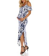 white mark maternity plus size cold shoulder tie-dye maxi dress