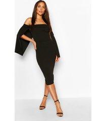 bandeau cape midi dress, black