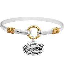 florida gators two tone silver gold cuff bangle bracelet charm jewelry uf