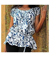 cotton batik blouse, 'balinese shadow' (indonesia)