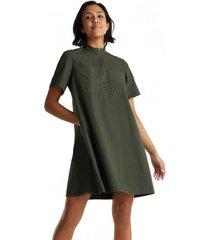 vestido estilo militar en algodón ecológico khaki esprit