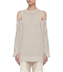 sleeve patchwork shoulder cutout sweater