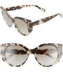 valentino 53mm polarized gradient cat eye sunglasses in brown havana/grad grey green at nordstrom