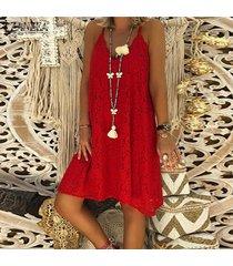 zanzea vestido casual de encaje con tirantes sueltos para mujer summer holiday beach mini sundress -rojo