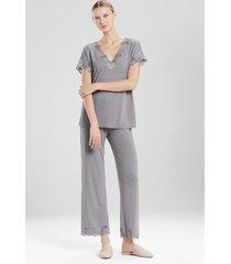 natori zen floral pajamas, women's, grey, size m natori