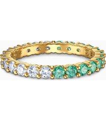 anello vittore half, verde, placcato color oro