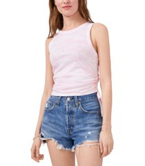 1.state printed side-tie ruched tank top