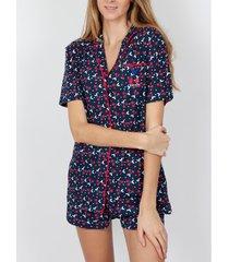 pyjama's / nachthemden admas pyjama kort shirt kersen marine adma's