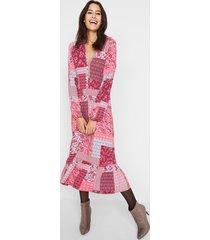 midi jurk met patchworkprint van maite kelly