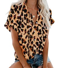 blusa manga corta cuello leopardo marrón classic