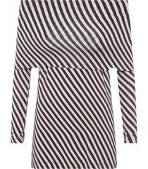 blusa feminina lineas diagonal - bege e preto