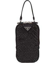 prada rhinestone-embellished logo handbag - black