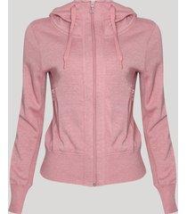 blusão feminino em moletom com capuz rosa