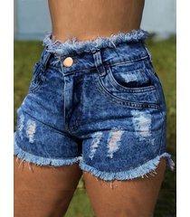 detalles rotos al azar bolsillos diseño shorts de mezclilla