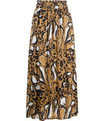 gestuz animal-print midi skirt - brown