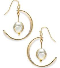 alfani gold-tone imitation pearl drop hoop earrings, created for macy's