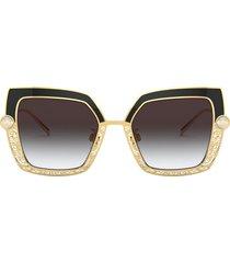 dolce & gabbana dolce & gabbana 51mm gradient square sunglasses in gold black at nordstrom