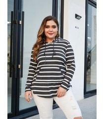 yoins plus talla black stripe hooded diseño camiseta