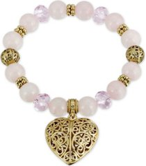 2028 semi-precious rose quartz filigree puff heart stretch bracelet