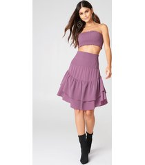 na-kd boho shirred part flounce skirt - purple