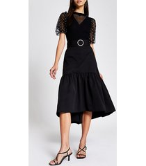 river island womens black belted tiered midi skirt