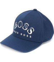 boss hugo boss logo print baseball cap - blue