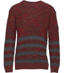flicker knit stickad tröja m. rund krage röd le-fix