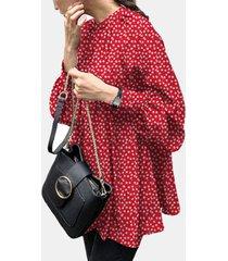 camicetta casual da donna con maniche a sbuffo stampata floreale