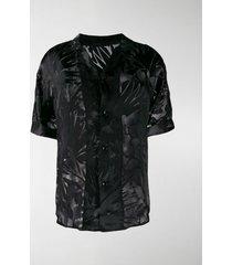 saint laurent shark-collar short-sleeve shirt