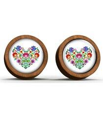 kolczyki drewniane - serce folkowe - sztyfty