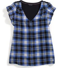 tommy hilfiger women's adaptive plaid top dory blue/masters navy multi - s