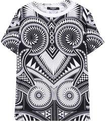 balmain black and white abstract t-shirt