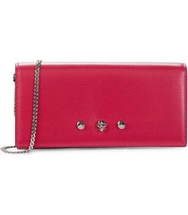 alexander mcqueen women's skull leather wallet-on-chain - orchid pink
