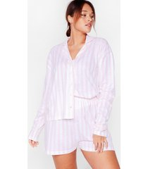 womens staying stripe here plus pajama shorts set - pink