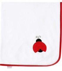 manta enxoval de malha padroeira baby joaninhas vermelho
