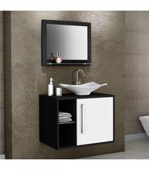armário de banheiro baden preto/branco - bechara móveis