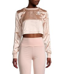 women's juicy couture x kappa eres satin hoodie - pink blush - size xs