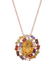 "le vian baguette frenzy multi-gemstone 18"" pendant necklace (6-1/10 ct. t.w.) in 14k rose gold"