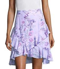 tessie high-waist orchid-print skirt